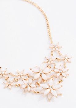 Ivory Glitter Daisy Burst Statement Necklace