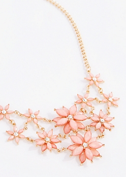 Pink Daisy Burst Statement Necklace
