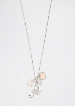 Rosy Cluster Initial A Necklace