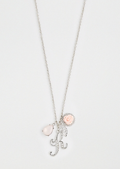 Rosy Cluster Initial K Necklace