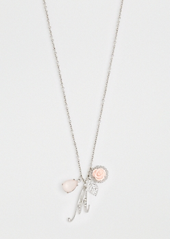Rosy Cluster Initial M Necklace