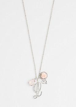 Rosy Cluster Initial L Necklace