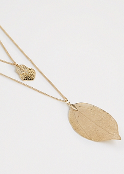 Tiered Filigree Leaf Necklace