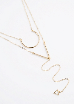 Geo Layered Drop Necklace