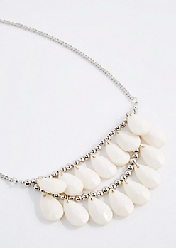 White Tiered Teardrop Necklace