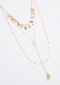Leaf Triple Chain Y Necklace