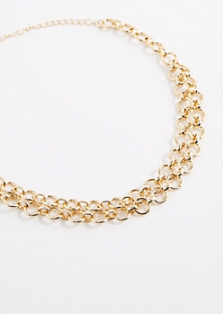 Golden Metal Layered Chain-Link Choker