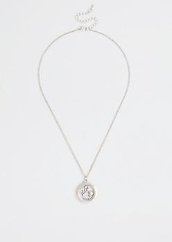 Rhodium Encased Love Charm Necklace