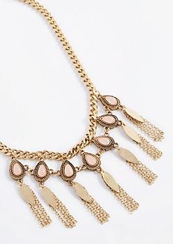 Pink Stone Fringe Necklace