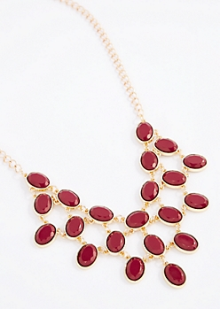 Burgundy Stone Drop Necklace