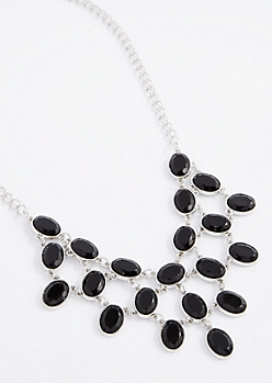 Black Stone Drop Necklace