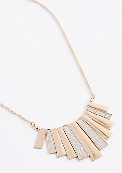Diamond Dust Fan Fringe Necklace