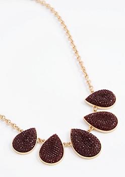 Burgundy Druzy Drop Necklace