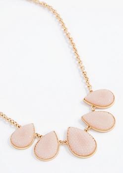 Pink Druzy Drop Necklace