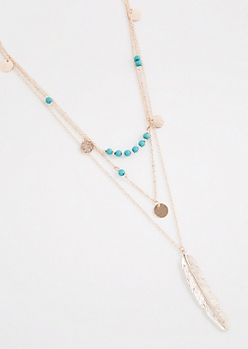 Boho Feather Beaded Layer Necklace