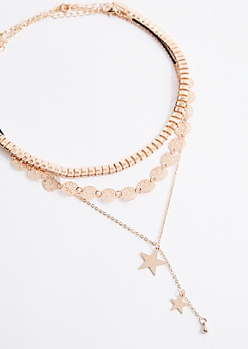 3-Pack Rose Gold Choker & Y-Necklace Set