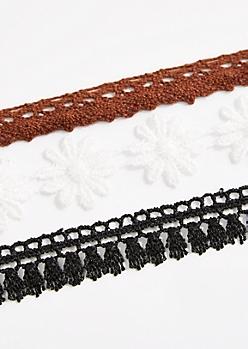3-Pack Daisy Crochet Choker