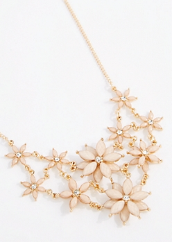 Ivory 3D Flower Statement Necklace