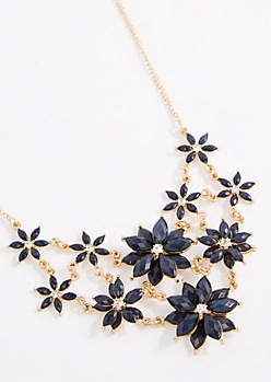 Navy 3D Flower Statement Necklace