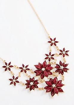 Burgundy 3D Flower Statement Necklace