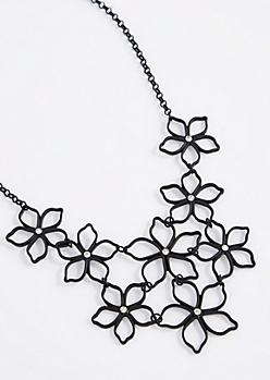 Black Stencil Flower Statement Necklace