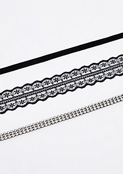 3-Pack Goth Glam Choker Set