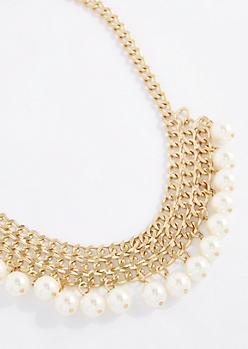 Vegan Pearl Mesh Bib Necklace