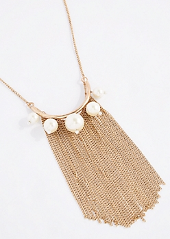 Vegan Pearl Chain Fringe Arc Necklace