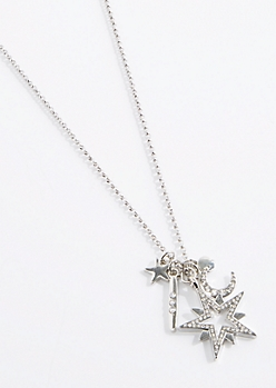 North Star Charm Cluster Necklace