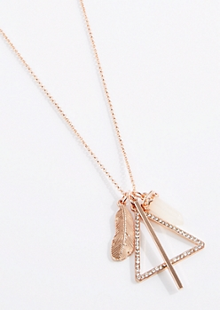 Geo Feather Cluster Necklace