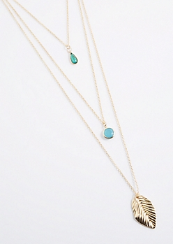 Stone Feather Drop Layered Necklace