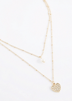 Pearl & Heart Double Chain Necklace