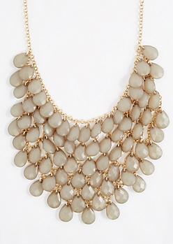 Olive Teardrop Gem Bib Statement Necklace
