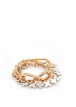 Gold Metallic Infinity  & Cross Bracelet Trio
