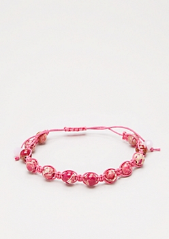 Pink Beaded & Knotted Cord Bracelet