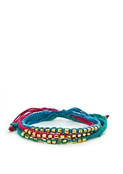 Magenta Beaded & Braided Bracelet Trio