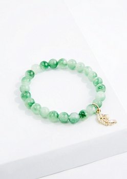 Leaf Mint Quartz Beaded Bracelet