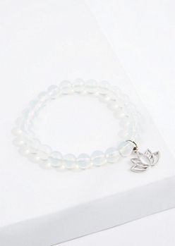 Lotus Clear Quartz Beaded Bracelet