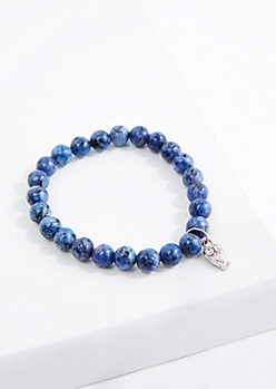 Owl Blue Kyanite Beaded Bracelet
