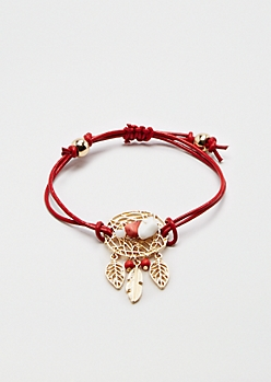 Red Dreamcatcher Healing Stone Bracelet