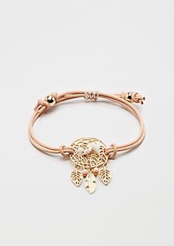 Pink Dreamcatcher Healing Stone Bracelet