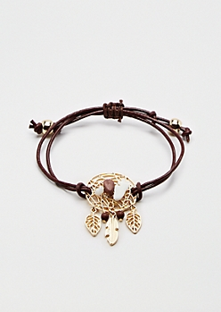 Burgundy Dreamcatcher Healing Stone Bracelet