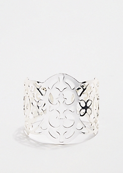 Metallic Open-Work Cuff Bracelet