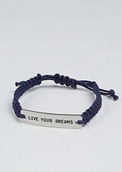 Live Your Dreams Silver Charm Bracelet
