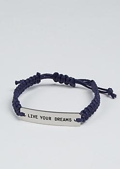 Live Your Dreams Silver Charm Bracelet