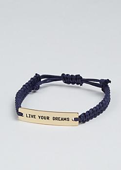 Live Your Dreams Golden Charm Bracelet