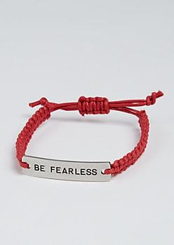 Be Fearless Silver Charm Bracelet
