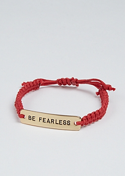 Be Fearless Golden Charm Bracelet