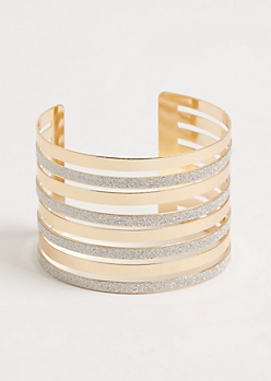 Gold Diamond Dust Layered Cuff