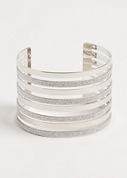 Silver Diamond Dust Layered Cuff